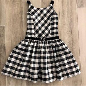 Jona Michelle Sz 6 Black White Plaid Formal Dress
